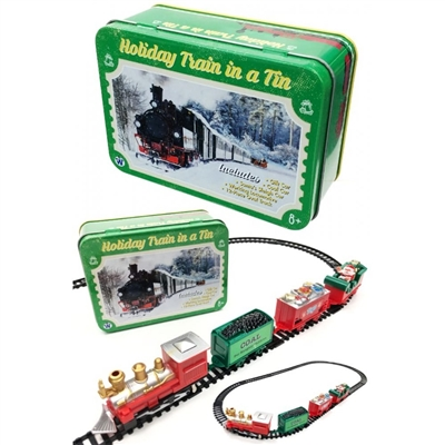 HOLIDAY TOY TRAIN IN A TIN